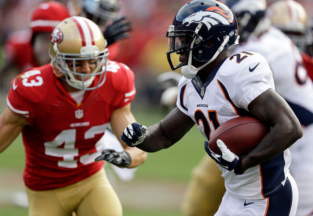. Denver Broncos running back Ronnie Hillman, right, carries the ball as San Francisco 49ers strong safety Craig Dahl, left, pursues during the first quarter of an NFL preseason football game on Thursday, Aug. 8, 2013, in San Francisco. (AP Photo/Ben Margot)