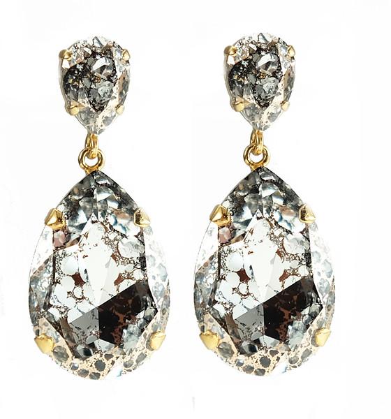 Perfect Drop Earrings / Silver Patina