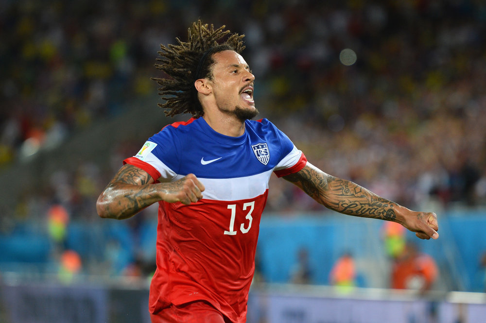 Description of . NATAL, BRAZIL - JUNE 16:  Jermaine Jones of the United States celebrates his team's victory 2-1 over Ghana in the 2014 FIFA World Cup Brazil Group G match between Ghana and the United States at Estadio das Dunas on June 16, 2014 in Natal, Brazil.  (Photo by Jamie McDonald/Getty Images)