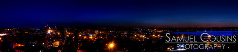 Panorama of Portland, Maine at night, taken about half an hour after sunset.