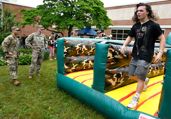 6/1/2018 Mike Orazzi | Staff Bristol Eastern High School junior David Tyminski during the SAT fair for juniors on Friday in the school's courtyard.