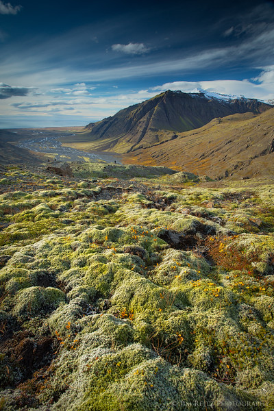 Lush moss covers the landscape at this overlook on the way up to Skallafellsjokull glacier, eastern Iceland.