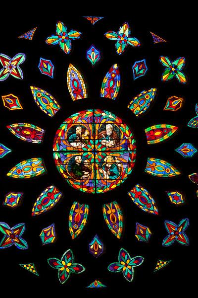 Detail of a Gothic rose window, Santa Maria de la Sede Cathedral, Seville, Spain