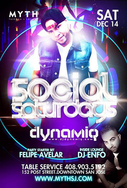 Social Saturdays feat. Dynamiq @ Myth Taverna & Lounge 12.14.13