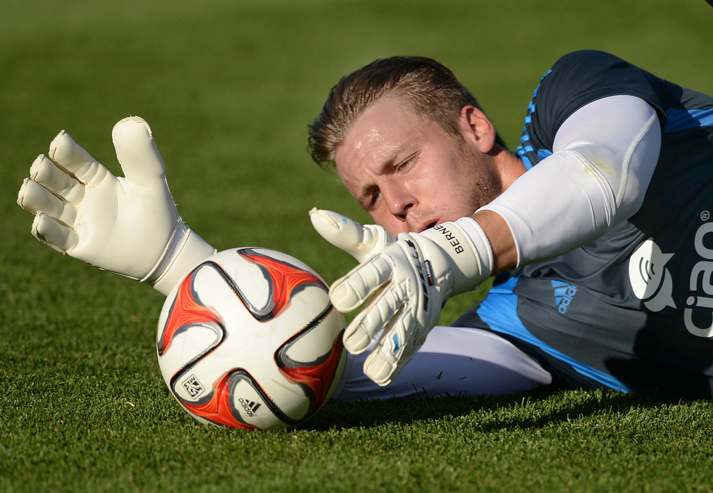 . COMMERCE CITY, CO - MAY 3:  Colorado goalie John Berner stopped a shot during warmups Saturday night. The Colorado Rapids hosted the Los Angeles Galaxy Saturday night, May 3, 2014 at Dick\'s Sporting Good Park. (Photo by Karl Gehring/The Denver Post)