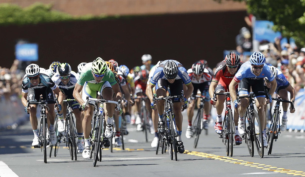 . Peter Sagan, of Slovakia, in green, races ahead of the sprint line to win stage 8 of the Tour of California cycling race in Santa Rosa, Calif., Sunday, May 19, 2013. (AP Photo/Marcio Jose Sanchez)