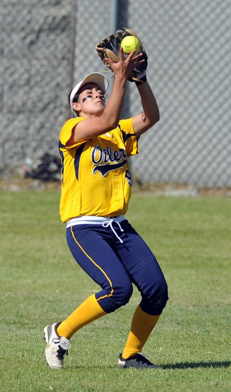 . Montebello plays Schurr in their Almont League girls softball game at Montebello High School on Thursday April 18, 2013. Montebello beat Schurr 10-8. (SGVN/Staff Photo by Keith Durflinger)