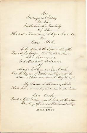 1771 Samuel Kissam Inaugural Essay