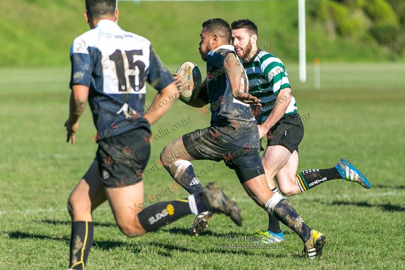Action from the Wellington Premier reserve rugby union match (Harper Lock Shield) between Old Boys University RFC (white) and Petone RFC (blue) at Nairnville Park, Wellington, New Zealand on 2 June 2018.    SCORE : Petone 17; OBU 24 Copyright John Mathews 2018 http://www.megasportmedia.co.nz
