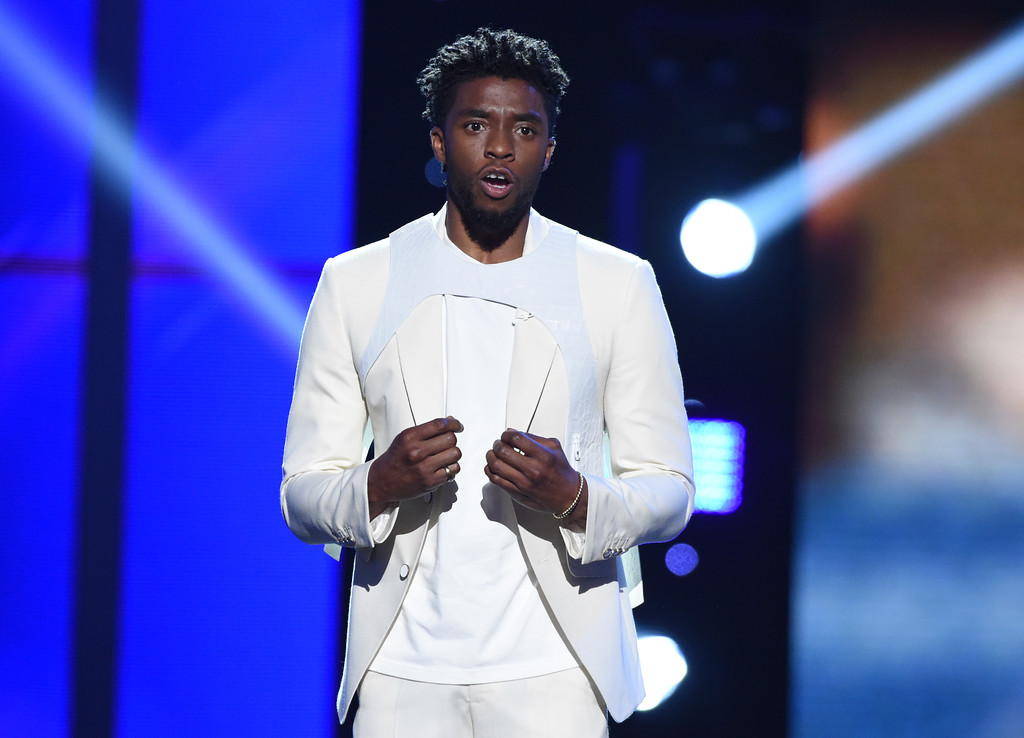 . Chadwick Boseman appears at the ESPY Awards at Microsoft Theater on Wednesday, July 18, 2018, in Los Angeles. (Photo by Phil McCarten/Invision/AP)