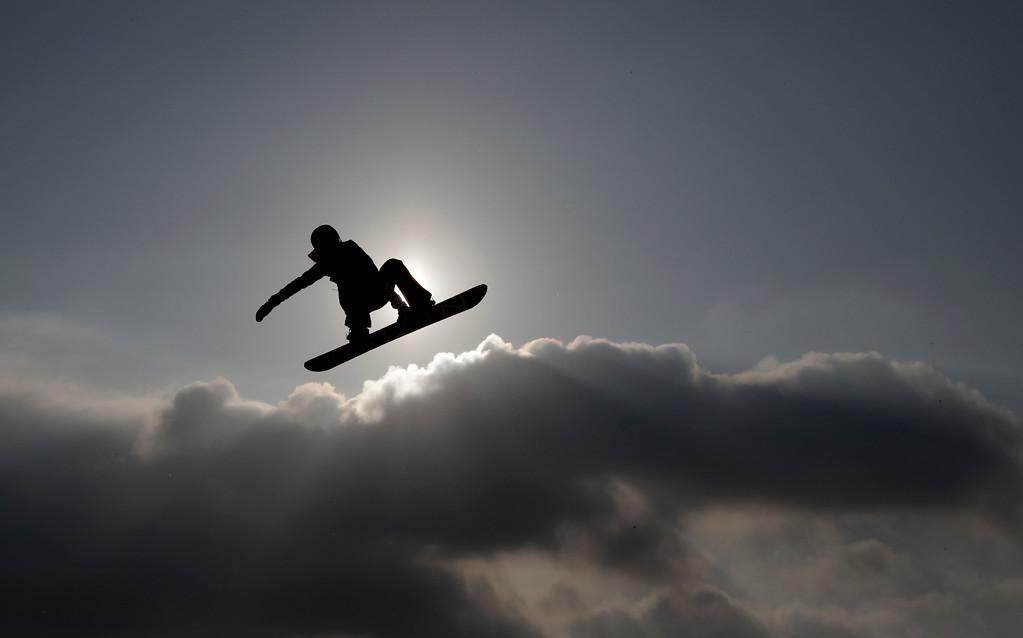 . Silje Norendal, of Norway, jumps during warm ups for the women\'s Big Air snowboard final at the 2018 Winter Olympics in Pyeongchang, South Korea, Thursday, Feb. 22, 2018. (AP Photo/Matthias Schrader)