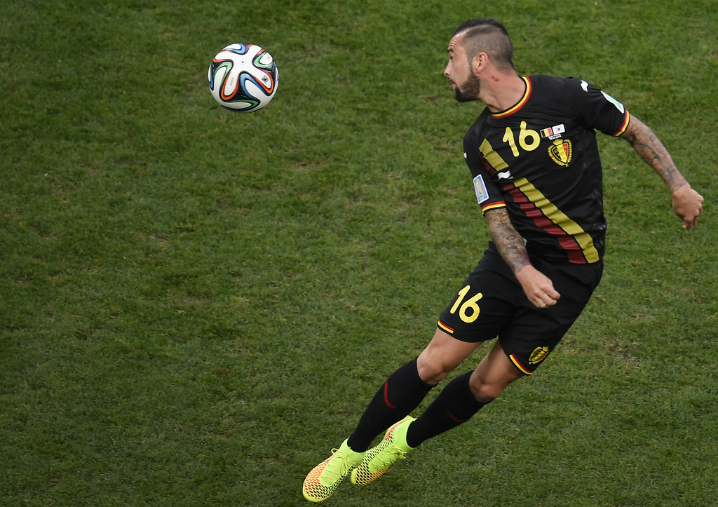 . Belgium\'s midfielder Steven Defour heads the ball during a Group H football match between South Korea and Belgium at the Corinthians Arena in Sao Paulo during the 2014 FIFA World Cup on June 26, 2014. FABRICE COFFRINI/AFP/Getty Images