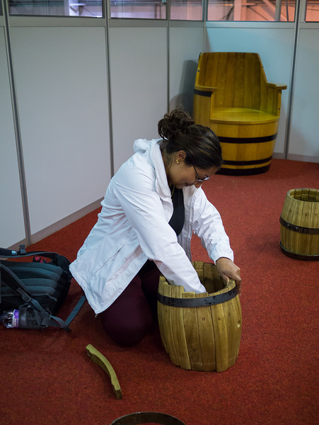 Becca making a barrel