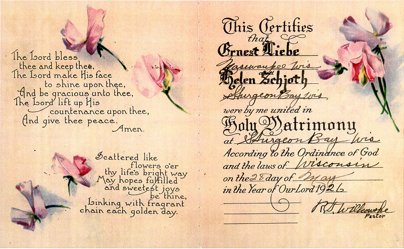 Marriage- Ernest Liebe & Helen Schjoth