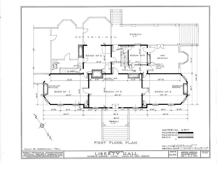 Architectural plans of the first floor of Liberty Hall. This work was done as part of the Historic American Buildings Survey (HABS) in 1938 as part of the WPA.