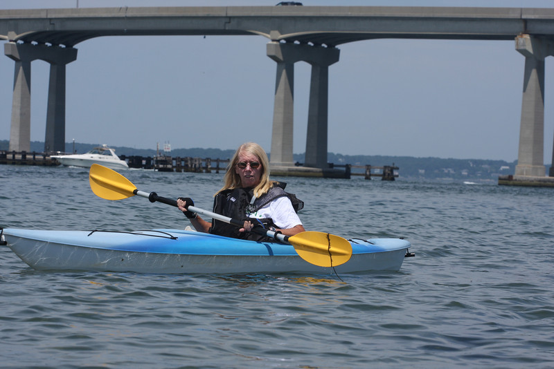 Kayaking off Road K in Hampton Bays, NY, for the first time, in which we get a little close to the Ponquogue Bridge.