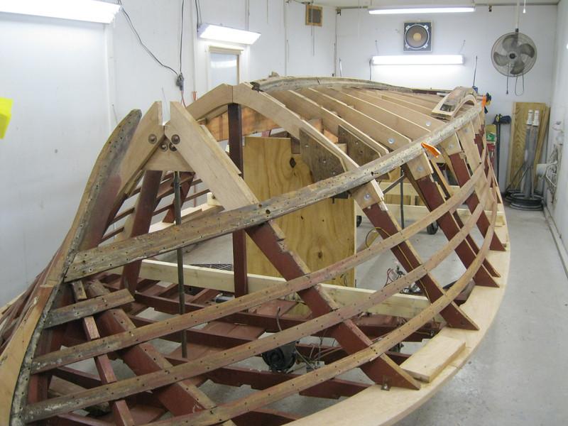 Frnot starboard view of new bottom frames installed.