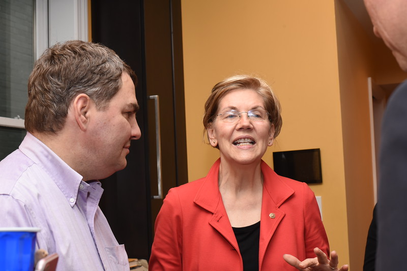 Mike Lux, Senator Elizabeth Warren. Blue Wave Book Opening. June 5, 2018. 616 North Carolina St SE. Amanda Warden..JPG