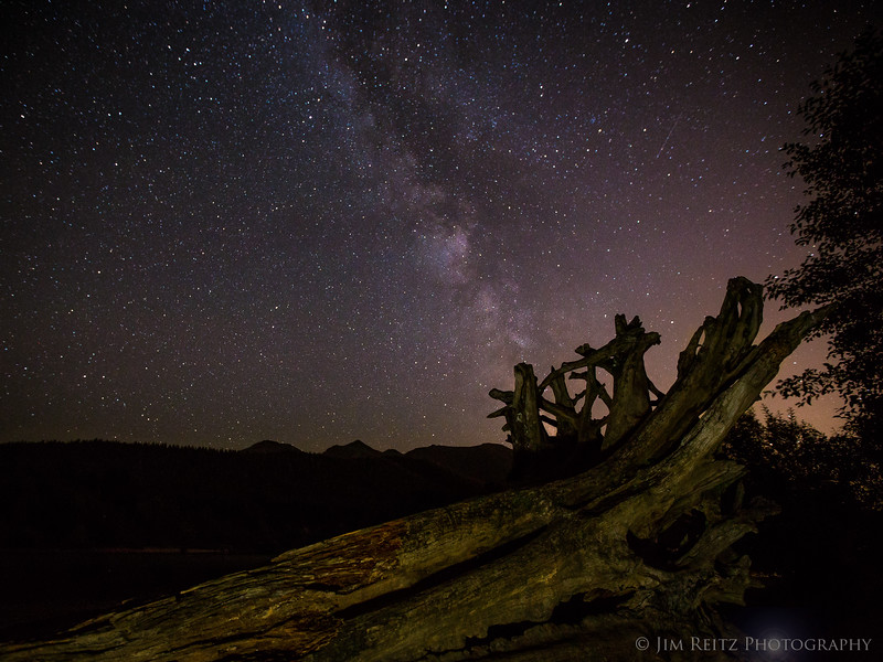 Milky Way rising over Rattlesnake Lake, Washington