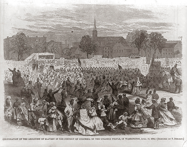 . Celebration of the abolition of slavery in the District of Columbia, in Washington, April 19, 1866 / sketched by F. Dielman. 1866 May 12.  Library of Congress