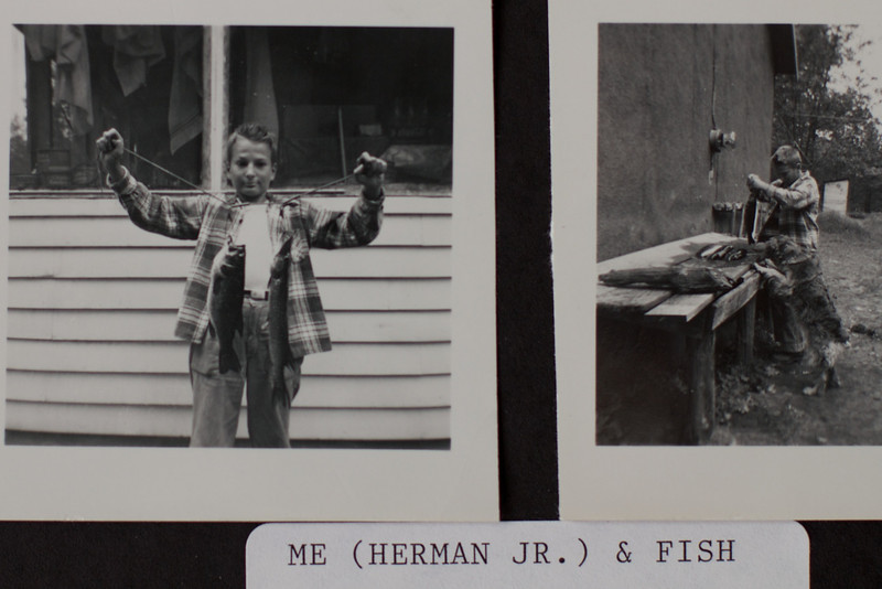 Circa:1955. This is an old photo of Herman Jr. at our cabin, in the 2nd photo see the outhouse in the back and the tar paper Cabin walls.