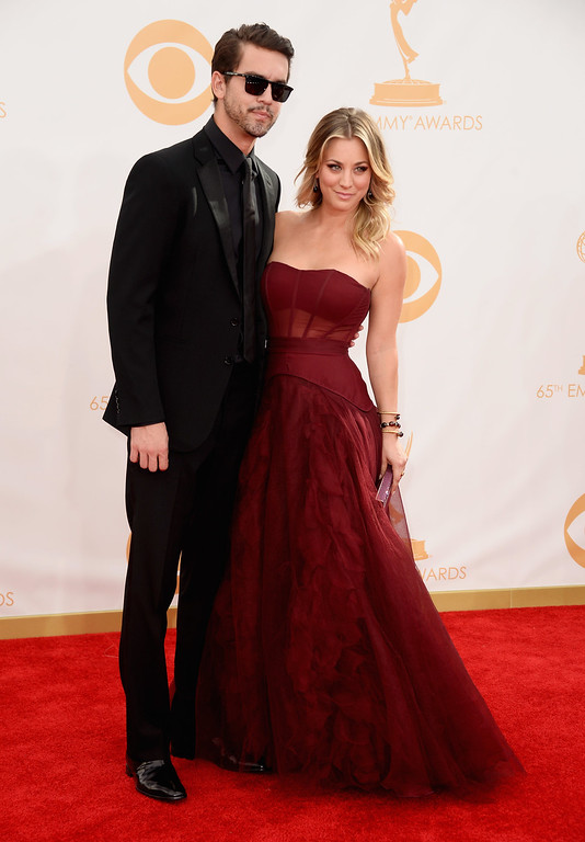 . Professional Tennis Player Ryan Sweeting and actress Kaley Cuoco arrive at the 65th Annual Primetime Emmy Awards held at Nokia Theatre L.A. Live on September 22, 2013 in Los Angeles, California.  (Photo by Frazer Harrison/Getty Images)