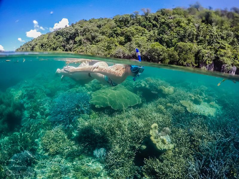 Lina Stock of Divergent Travelers Adventure Travel blog snorkeling in Bogor Marine Park near Culion Island, Philippines