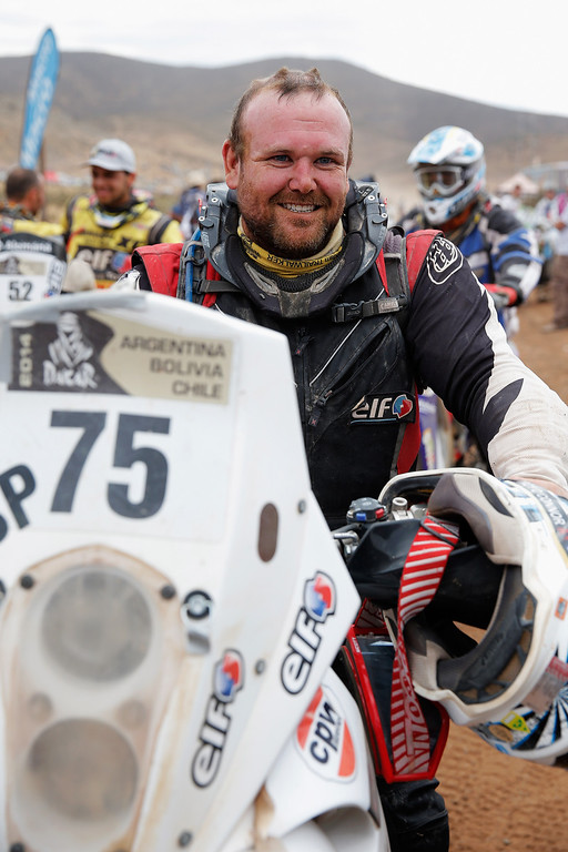. ILLAPEL, CHILE - JANUARY 18:  (#75) Troy Oconnor of Australia for KTM DRMA crosses the finish line after stage 13, the final leg on the way to Valparaiso during Day 14 of the 2014 Dakar Rally on January 18, 2014 in Illapel, Chile.  (Photo by Dean Mouhtaropoulos/Getty Images)