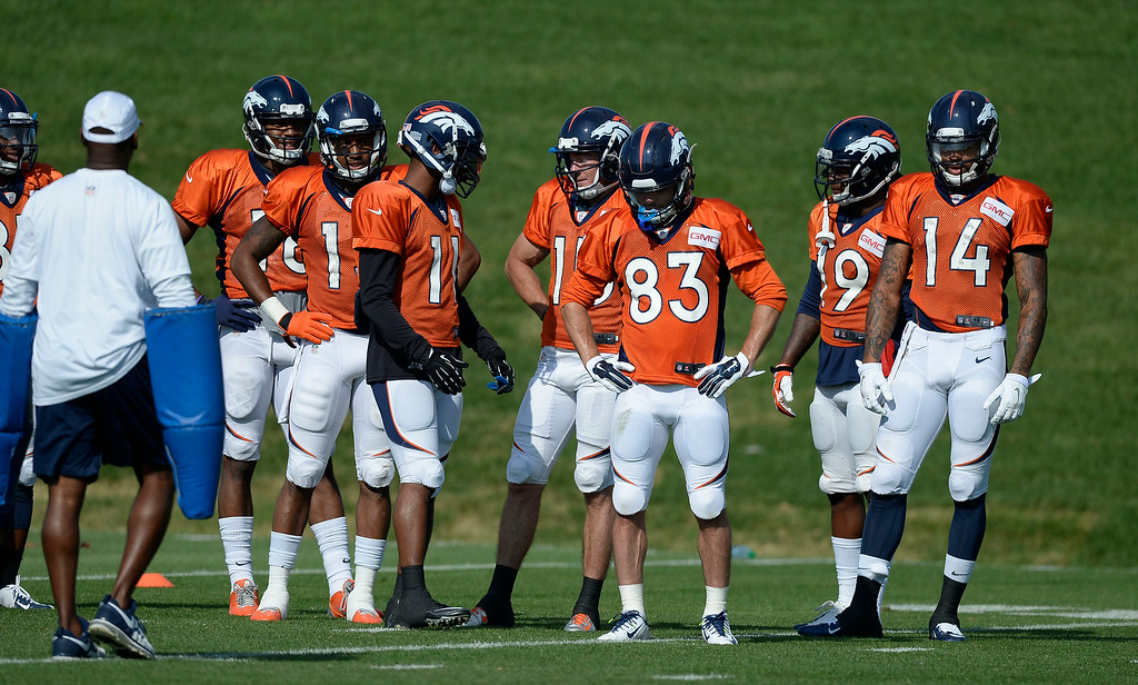 . Denver Broncos wide receivers look on during drills on day five of the Denver Broncos 2014 training camp July 28, 2014 at Dove Valley. (Photo by John Leyba/The Denver Post)