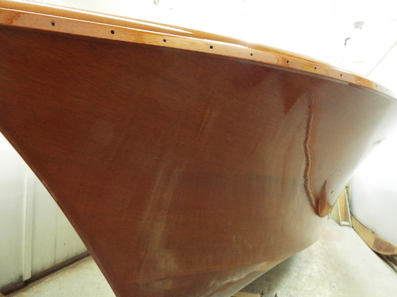 Port bow after the sixth coat was applied.