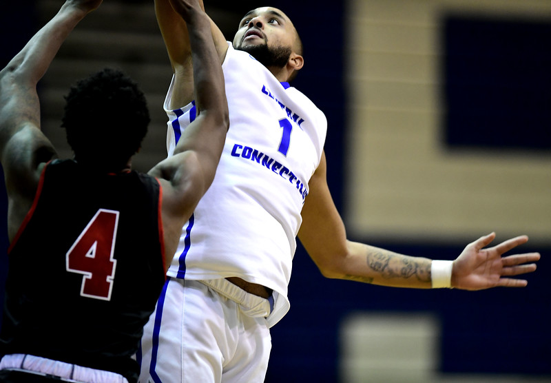 1/19/2019 Mike Orazzi | Staff CCSU's Tyler Kohl (1) during Saturday's Men's basketball game with Saint Francis University in New Britain.