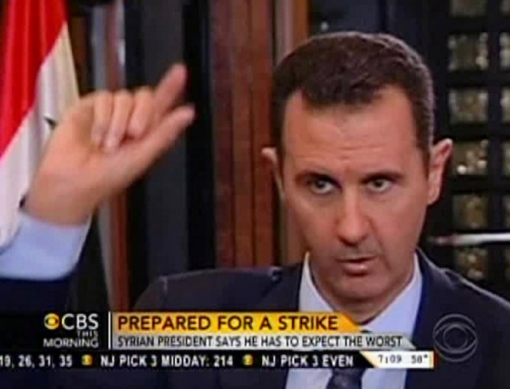 """. <p>3. BASHAR AL-ASSAD <p>Could Syrian dictator�s threats possibly be as empty as President Obama�s? (unranked) <p><b><a href=\'http://www.foxnews.com/politics/2013/09/09/assad-threatens-repercussions-if-us-launches-strike-on-syria/\' target=\""""_blank\""""> HUH?</a></b> <p>    (AP Photo/CBS This Morning)"""