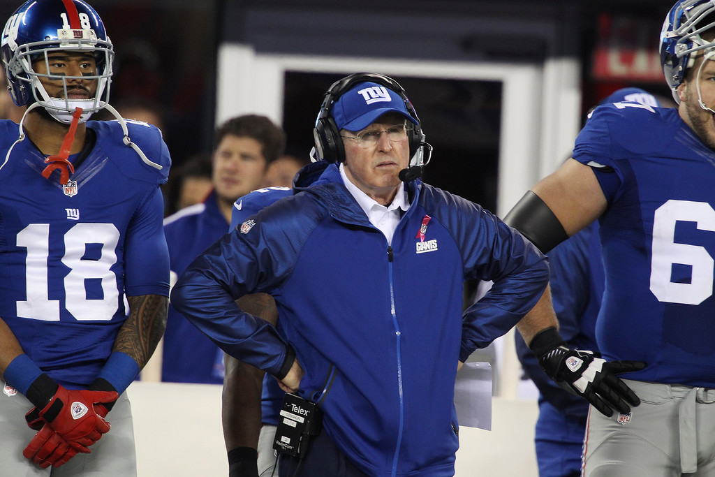 . New York Giants head coach Tom Coughlin stands on the sidelines during the first half of an NFL football game against the Minnesota Vikings Monday, Oct. 21, 2013 in East Rutherford, N.J. (AP Photo/Peter Morgan)