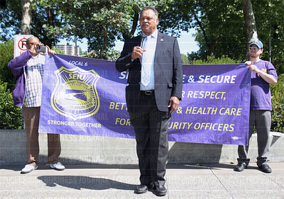 Reverend Jesse Jackson is pictured speaking to protestors after the Amazon shareholders meeting in Seattle, Washingto