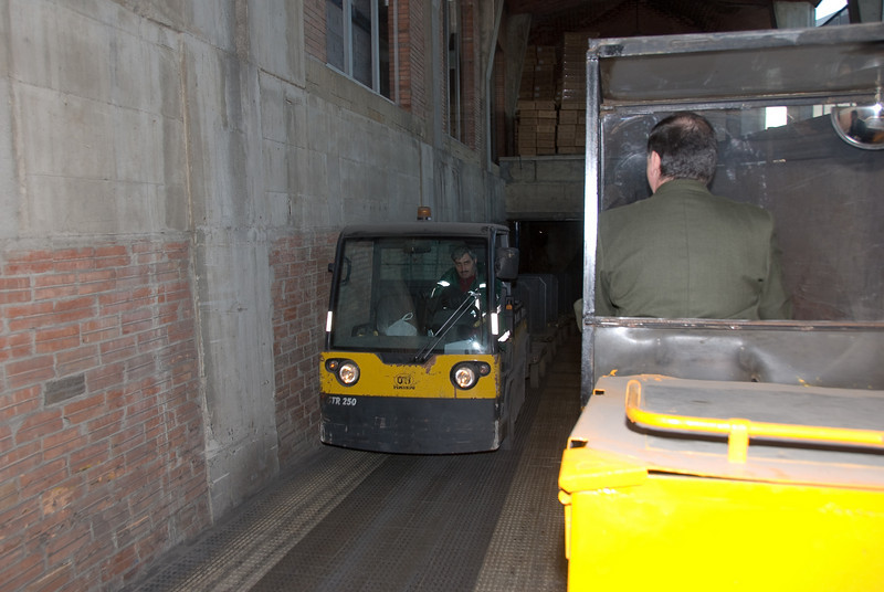 Carts passing at the entrance to the underground storage at the Codorníu Winery. (Dec 13, 2007, 04:48pm)