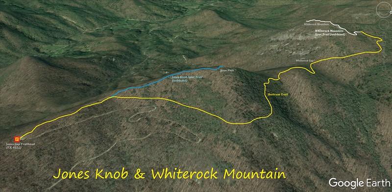 Jones Knob & Whiterock Mountain Hike Route Map
