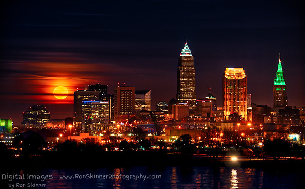 Full Moon Rising Over Cleveland Collection