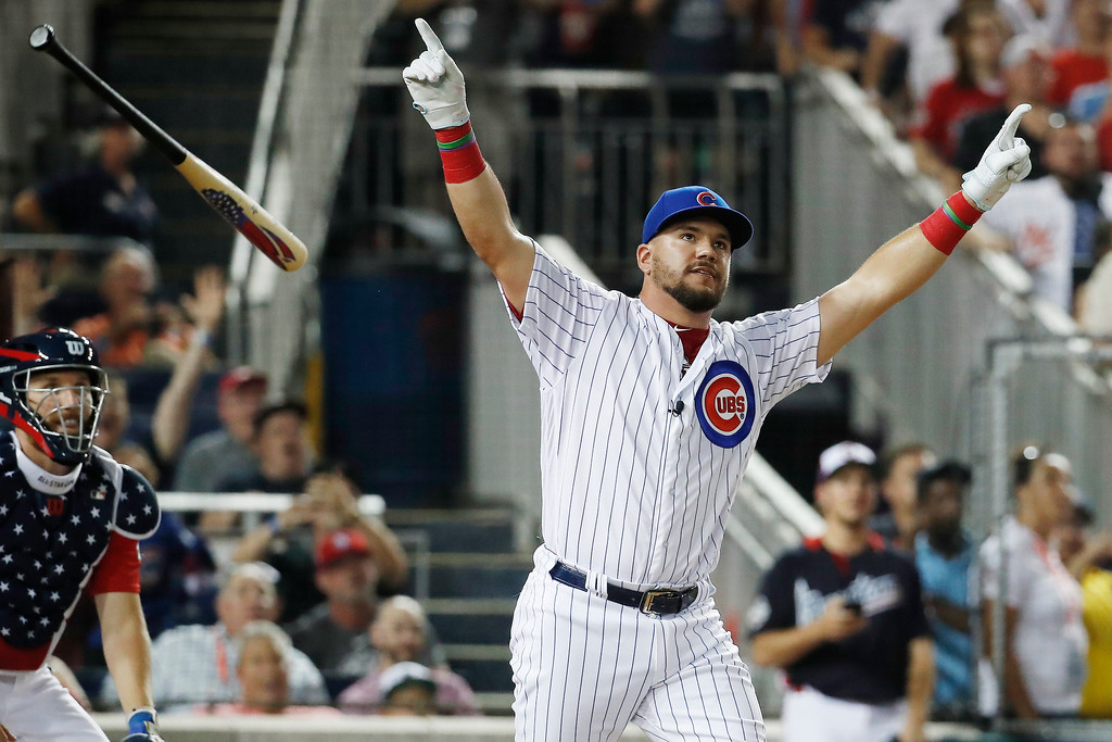 . Chicago Cubs Kyle Schwarber (12) reacts after his turn at bat during the MLB Home Run Derby, at Nationals Park, Monday, July 16, 2018 in Washington. The 89th MLB baseball All-Star Game will be played Tuesday.(AP Photo/Alex Brandon)