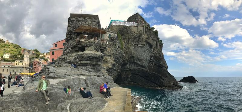 Sunning on the rocks below Doria Castle - Vernazza, Italy