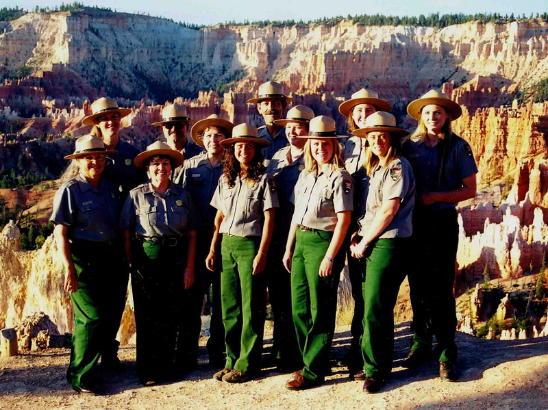 BRYCE CANYON VUAs This is the Visitor Use Assistant (VUA) crew I would work with for the summer. As I've unfortunately forgotten some of the names by now, I'll refrain from naming any of them to spare any hurt feelings. That's my boss, Sheree, front row second from left, though. I have to name her.