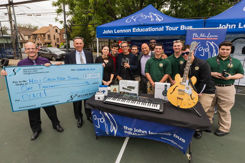2016_09_28_Flushing_NY_Holy_Cross_High_School, Congressman, giveaways, Paul Vallone, securematics, students, audio technica, epiphone, Mike Truesdell