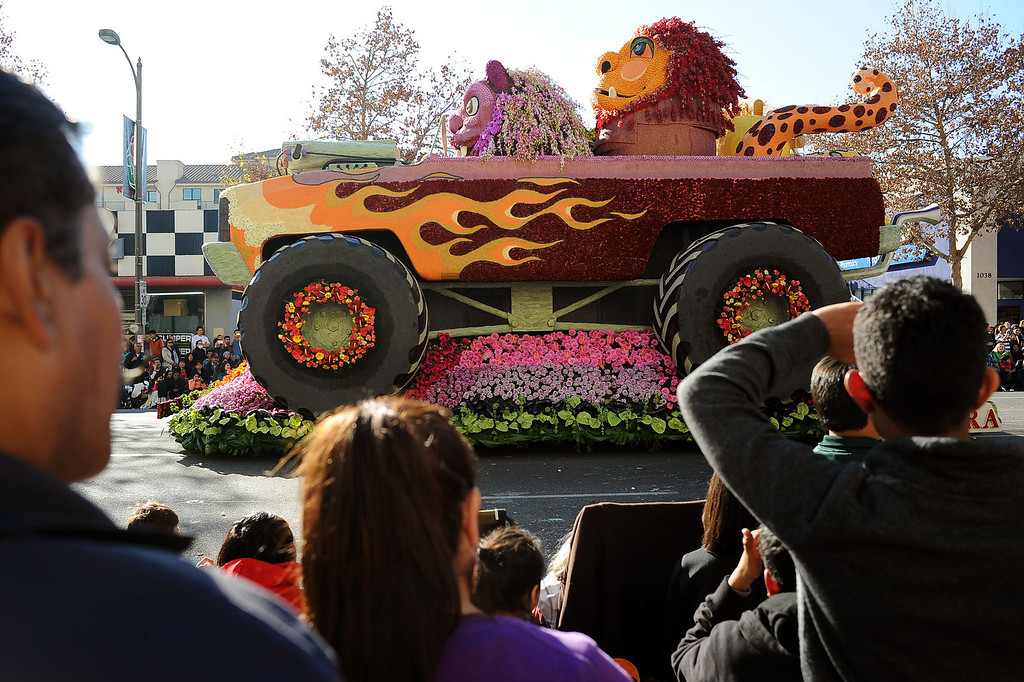 ". The City of Alhambra\'s ""Monster Truck\"" float rolls down Colorado Blvd. during the 2014 Rose Parade in Pasadena, CA January 1, 2014.(Andy Holzman/Los Angeles Daily News)"