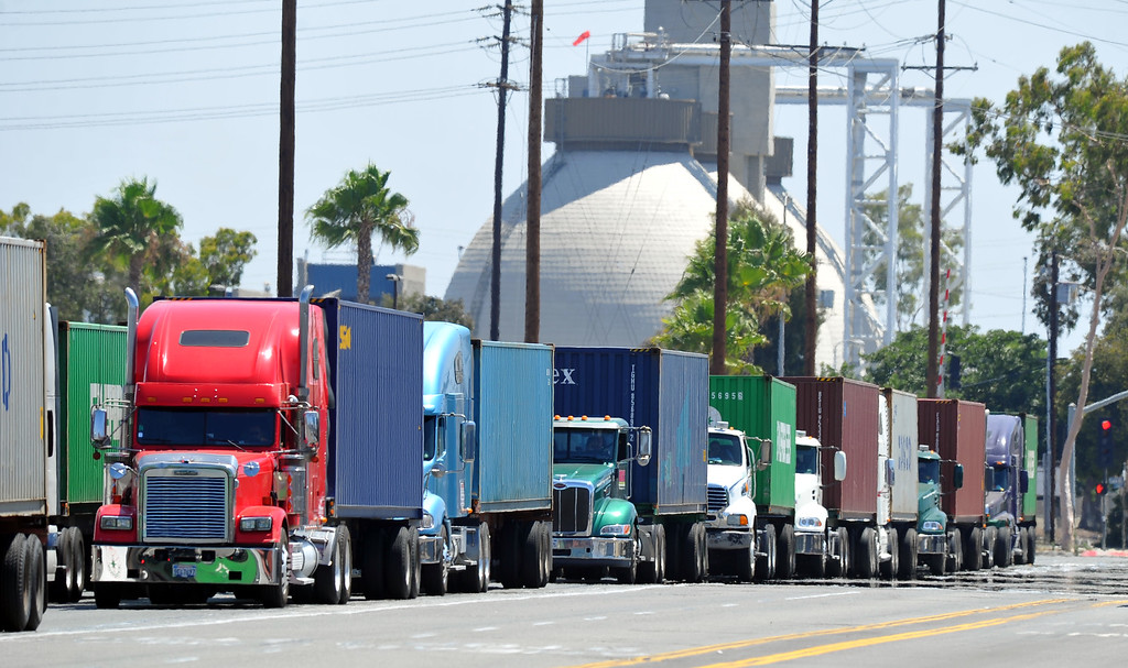 . Truckers face a lengthy delay as they try to enter the Evergreen terminal on Terminal Island, CA on Wednesday, July 9, 2014. Truckers are in their third day of their port strike.  (Photo by Scott Varley, Daily Breeze)