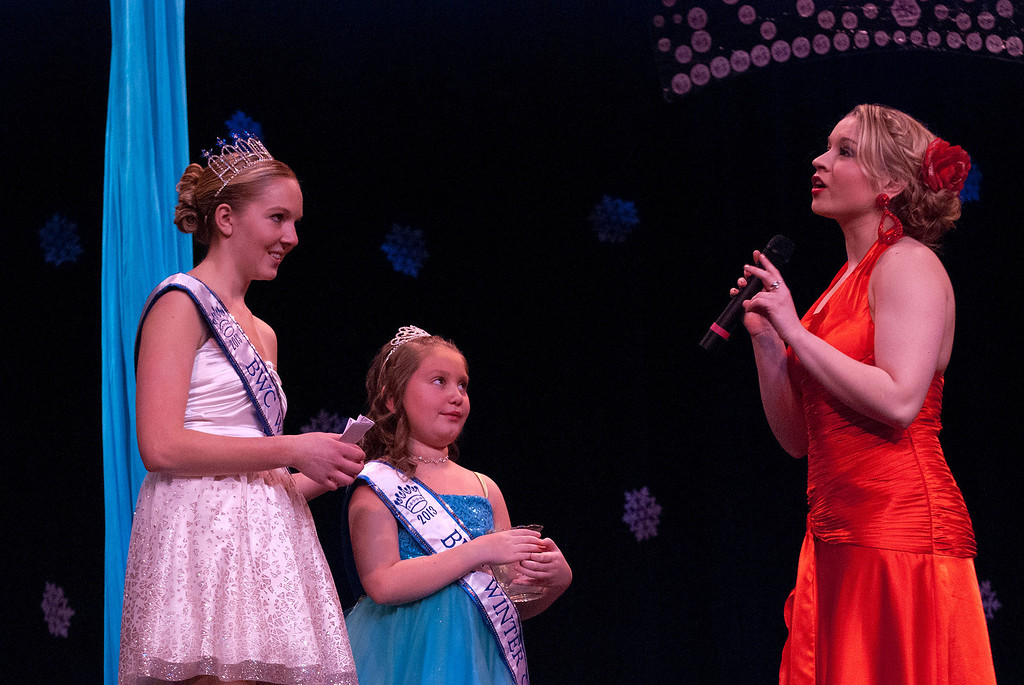 . Kayla Rice/Reformer Kara Walsh answers a question during the 2014 Brattleboro Winter Carnival\'s Queen\'s Pageant on Friday night.