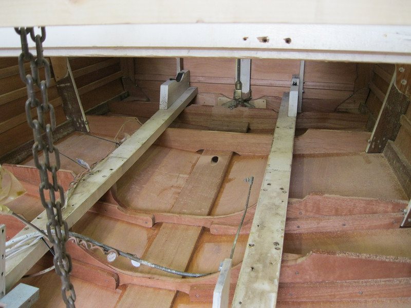 View from the bow looking toward the transom of new frames, botom and sides.