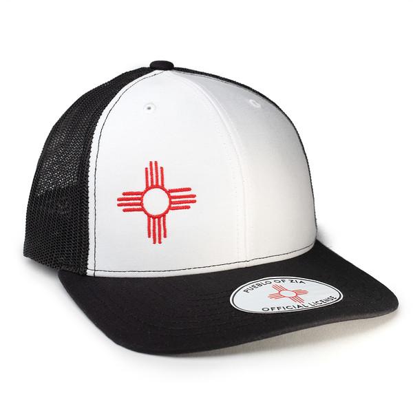 Outdoor Apparel - Organ Mountain Outfitters - Hat - Zia Sun Symbol Trucker Cap White Black.jpg