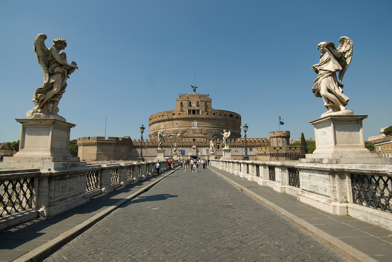 Bridge leading to Castel Sant'Angelo in Rome, Italy