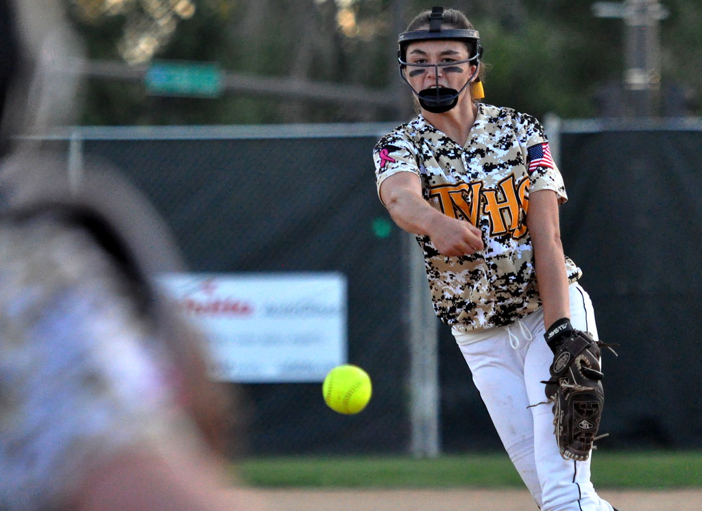 . Thompson Valley pitcher Makenna McVay delivers a strike against Berthoud on Friday Aug. 25, 2017 at Centennial Park. (Cris Tiller / Loveland Reporter-Herald)