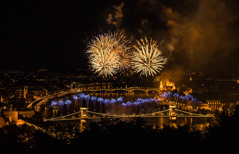 Fireworks over the Danube in Budapest, Hungary, on State Foundation Day.