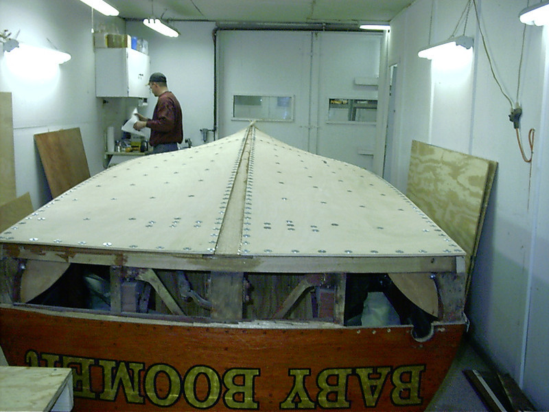 Rear view of first layer of bottom glued in place.